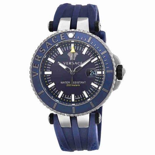 Versace V Race Diver Blue Dial Men's Rubber Watch VAK02 0016