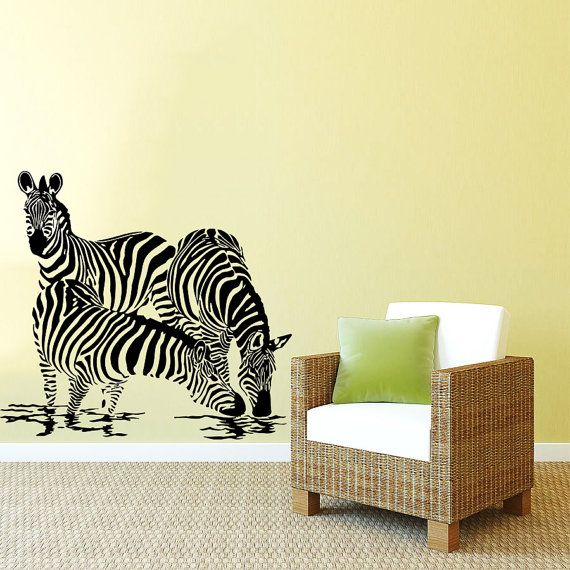 Wall Decal Vinyl Sticker Decals Art Home Decor Design Mural Zebra Animals Jungle Safari African Kids Children Nursery Baby Bathroom