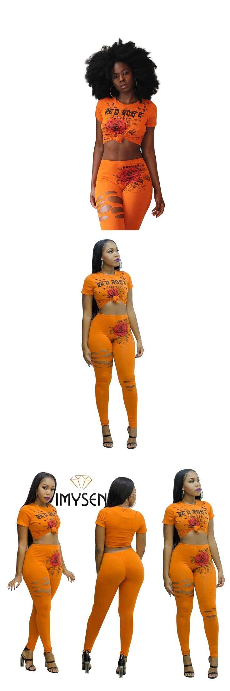 IMYSEN 2017 Summer Autumn Two Piece Set Women Sexy Short Sleeve O Neck Crop Top Pants Suit Print Suits Solid Orange 2pcs Sets