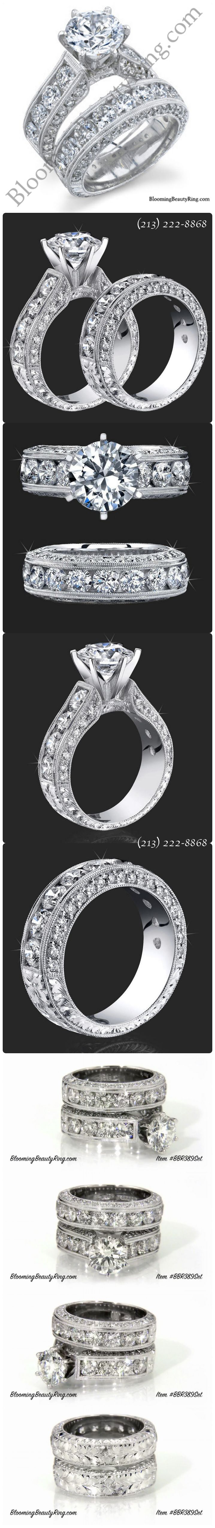 """http://rubies.work/0099-ruby-rings/ (Click on the picture to see this ring in HD video on our website) This hand-made engagement ring set is almost beyond description! Each ring has over 2 carats of top quality """"accent diamonds"""" alone! Pictures show a 2 carat center stone making the rings = 6.10 ctw. (Queen Elizabeth herself would be jealous!!) (213) 222-8868 BloomingBeautyRing.com"""