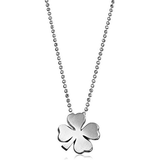 Alex Woo Little Luck 925 Sterling 4-Leaf Clover Pendant Necklace Irish four leaf clovers are seen around the world as good luck charms and worn for good health luck love and happiness. Taken from Little Luck collection this Alex Woo sterling silver four leaf clover pendant measures 0.4 inch in height and width is the perfect good luck jewelry to get for yourself or your loved ones. The clovers polished look makes our clover necklace an elegant addition to your outfit it comes with 16-inch…