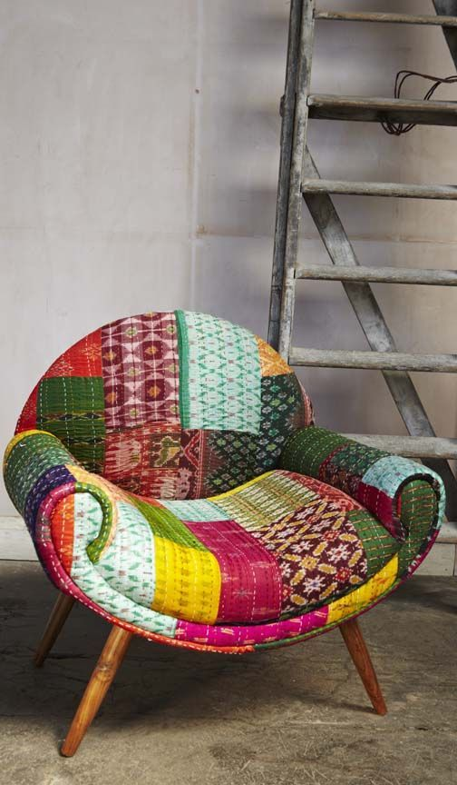 *Sari Chair* from ~Plümo Ltd~  |Stunning crescent shaped chair upholstered in a combination of beautiful handstitched Hindustani fabrics in contrasting colours and patterns. Hand polished legs made of oiled mango wood. Fairtrade. Colours, fabrics and proportions may vary from image shown due to handcrafted quality.|
