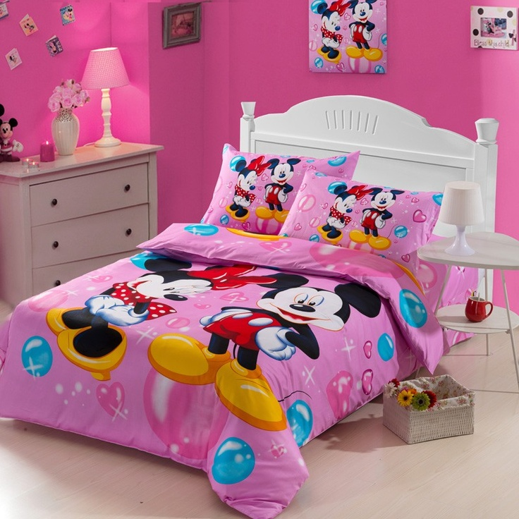 Minnie And Mickey Pink Kids Duvet Cover Bedding Sets