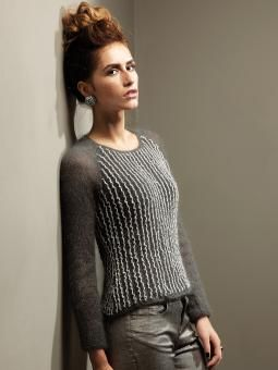Springsteen - Knit this ladies round neck sweater, with crochet trim detail, from Rowan Studio issue 33. A design by Marie Wallin using our shimmering met...