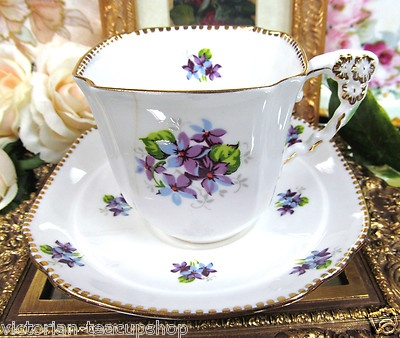 Royal Stafford A F Flower Handle Tea Cup and Saucer