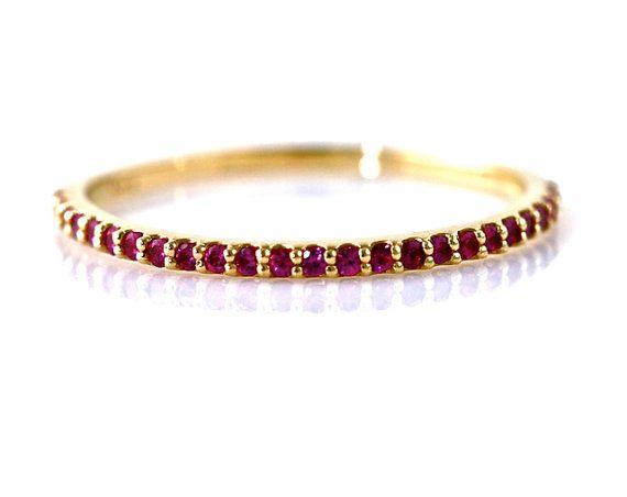 14K Ruby Ring Anniversary Band Stacking Ring Wedding Band July Birthstone Ring White Yellow Rose Gold