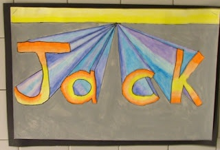 Art with Mrs. Seitz: 5th Grade first project of the year. 3D names with perspective lines