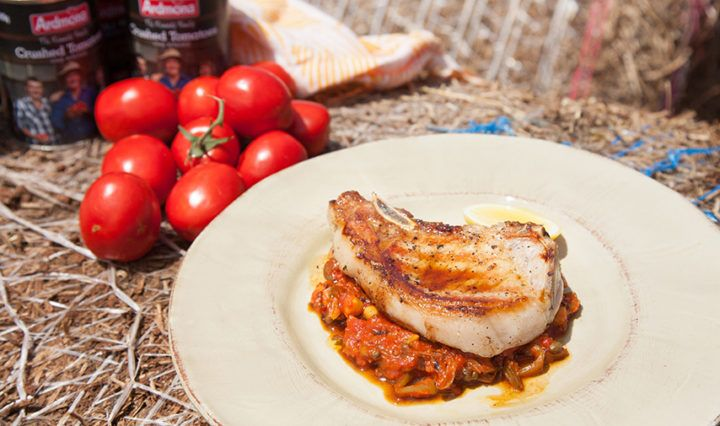Pork Chops with Easy Tomato & Chickpea Sauce