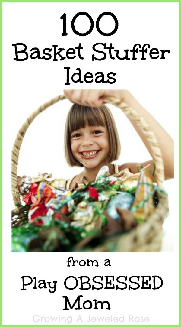Looking for Easter basket inspiration?  Here are over 100 basket stuffer ideas that foster art, imagination, and PLAY!  ...  paint brushes, stickers, mini notebooks, straws, finger cymbals, new toothbrush!
