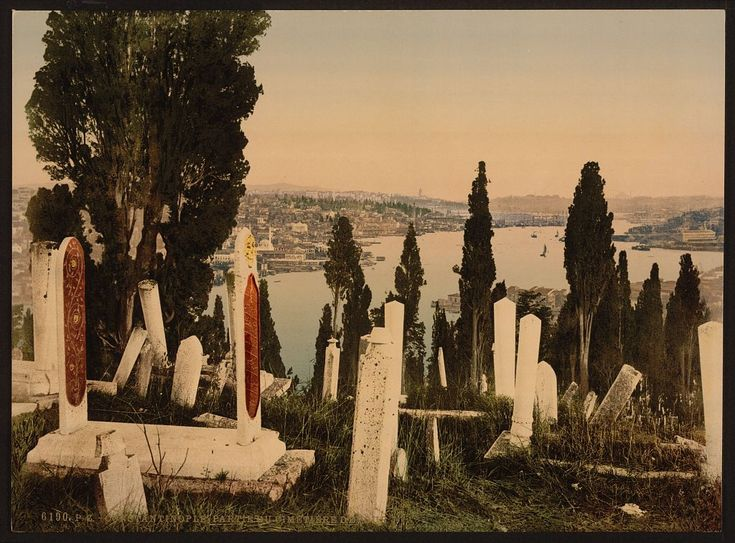 A Part of the Eyoub (Eyüp) Cemetery, I, Constantinople, Turkey. Between 1890 and 1900.