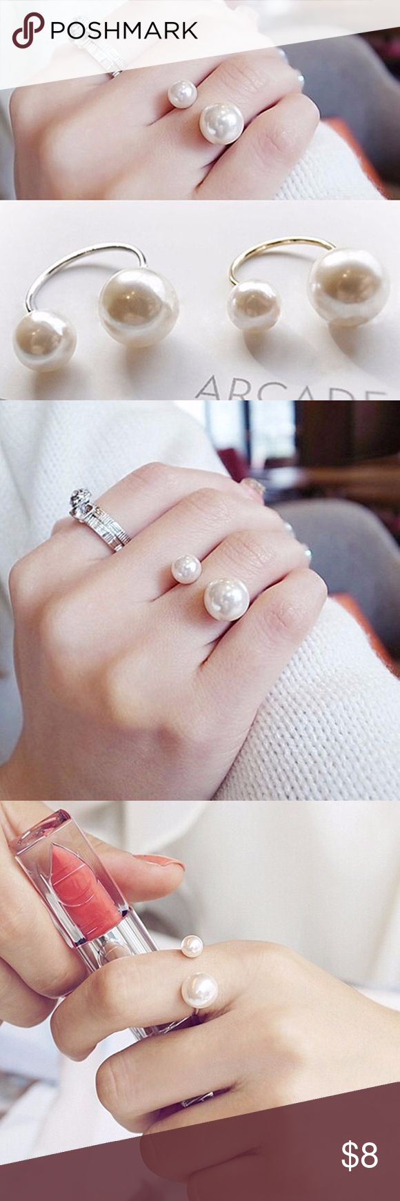 Modern Chic Adjustable Pearl Ring Fashion Jewelry Color : Silver, Gold   Material : Zinc Alloy, Simulated pearls   Size : adjustable LINQ LA Jewelry Rings