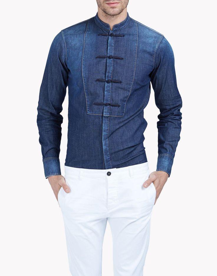 denim china tux shirt рубашки Для Мужчин Dsquared2