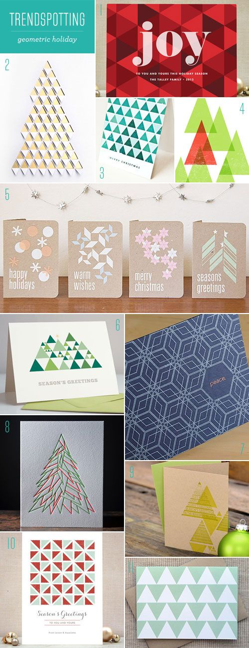 Triangles, diamonds, and polygons are the cornerstones of the trend in geometric stationery, including these modern holiday card designs.