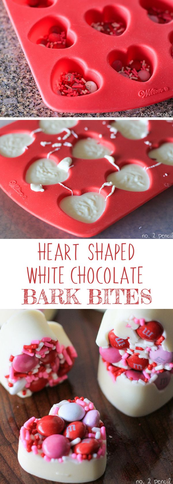 Heart Shaped White Chocolate Bark Bites