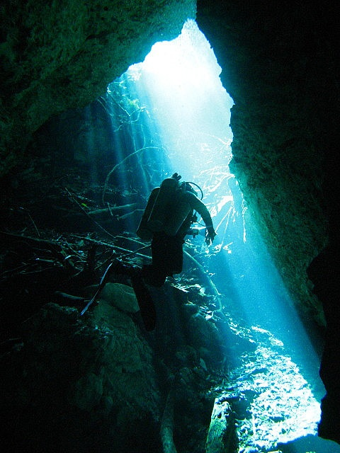 Cave diving in Mexico (Cenote)