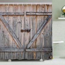 Drzwi z drewna Druk Cyfrowy Poliestrowa Zasłona prysznicowa 180*180 cm Domu Kreatywne Wodoodporny Zasłona prysznicowa Z Hakiem(China (Mainland))