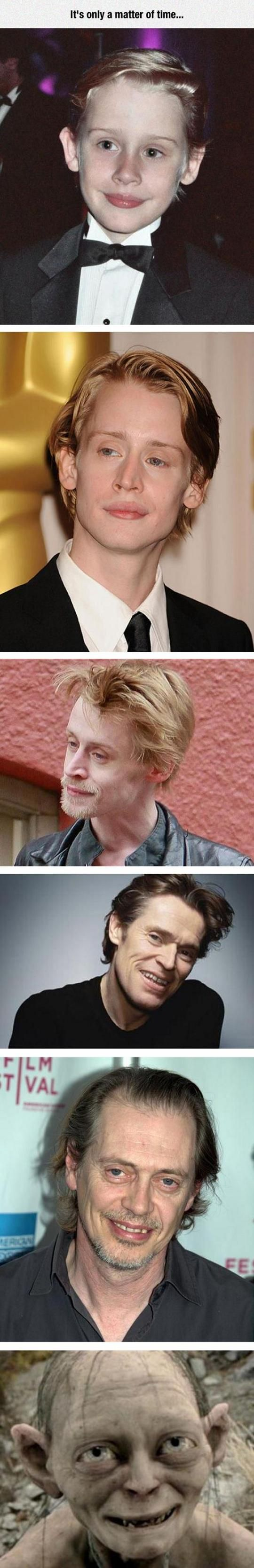 I LOVE both Willem Dafoe and Steve Buscemi. I did NOT create this, I just thought it was funny. Altho, inaccurate because reality would skip Willem and Steve and go straight to Gollum... just sayin...