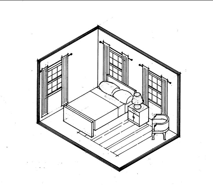 Architectural Interior Drawing Bedroom Sketch