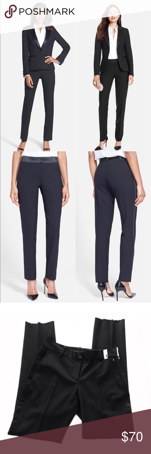 """After Six Tux Pants 🌸 Mid rise. A satin waistband and side stripes polish the tuxedo vibe of tapered stretch-wool pants, giving you a smart alternative to traditional cocktail-hour style. 32"""" inseam; 9 1/2"""" front rise; 14"""" back rise (size 8) Zip fly with hook-and-bar closure Side-seam pockets Unhemmed for easy tailoring Unlined 96% wool, 4% Lycra® spandex; 100% polyester satin trim Dry clean Made in the USA After Six Pants"""