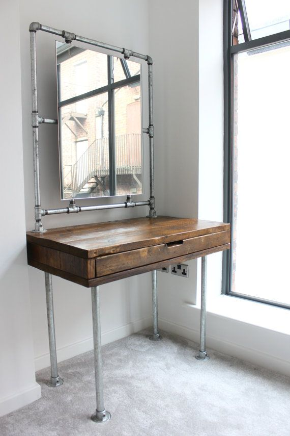 Meila Reclaimed Medium Oak Stained Scaffolding Board Industrial Style Dressing Table with Galvanised Threaded Steel Pipe Framed Mirror