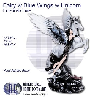 Fairy with Blue Wings with Unicorn Fairyland Fairy