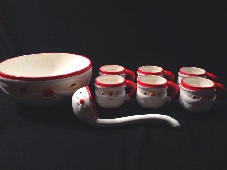 Napco Vtg Winking Santa Punch Bowl Set Complete Tom & Jerry 8 Piece Ladle Mugs