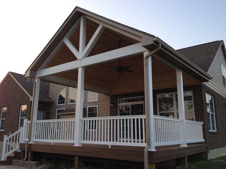 Open Gable Porch Roof House with porch, Porch addition