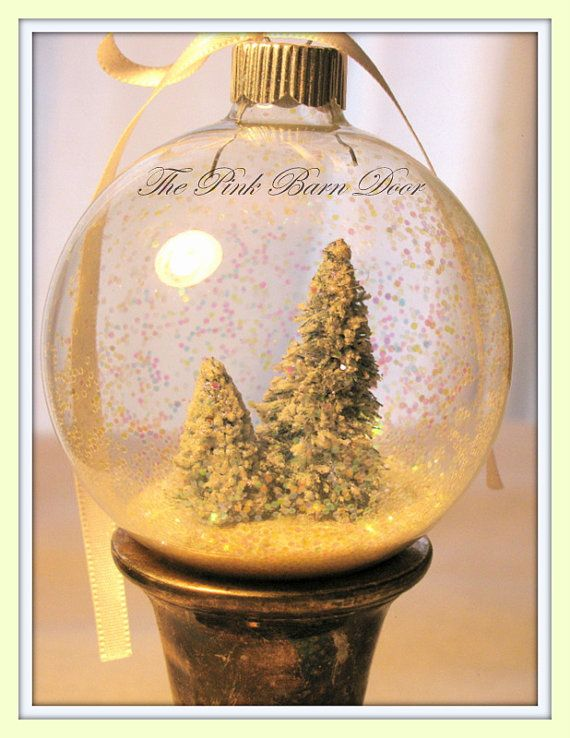 Two Snow Globe Christmas Ornaments by The Pink Barn Door