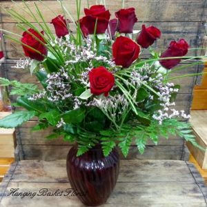 12 Red Roses with Vase