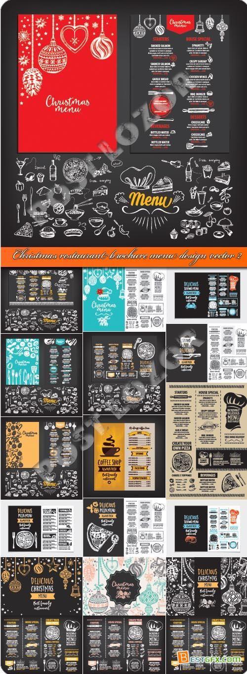 Christmas restaurant brochure menu design vector 2