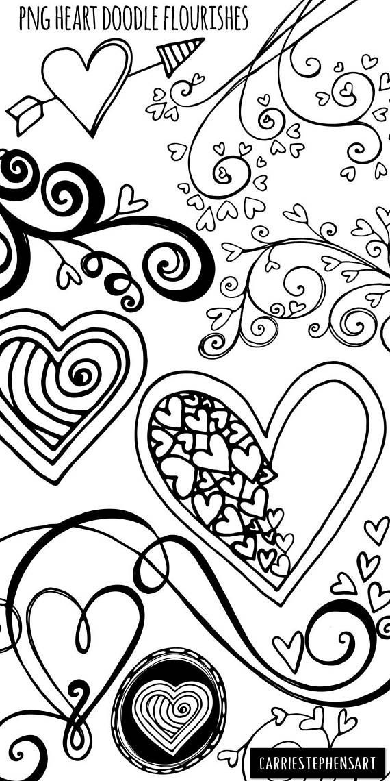 Heart Doodles Clipart Png Printable Valentine Graphics Black White Digital Stamps Flourishes For Instant Download Commercial Use In 2021 Heart Doodle Heart Clip Art Valentine Coloring Pages