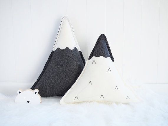 Snowy Mountains wool felt cushion by Booandbearbaby on Etsy