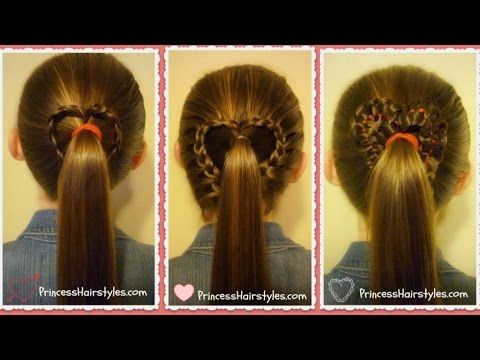 Three Heart Ponytails How-to Video Tutorial by Princess Hairstyles.  Cute Valentine's Day styles.