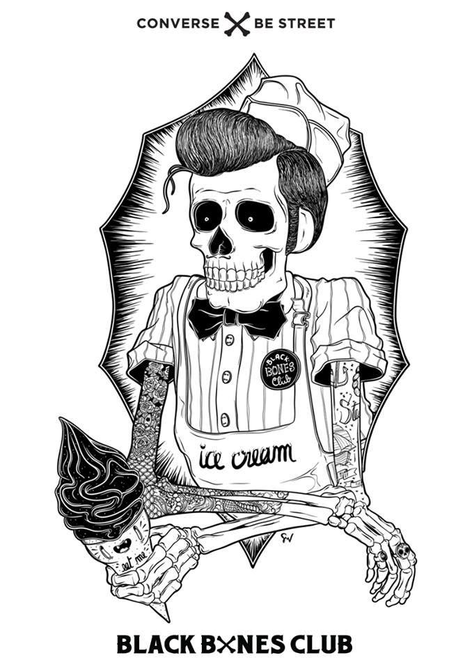 Converse x Be Street - Black Bones Club Contest Artwork by SMV