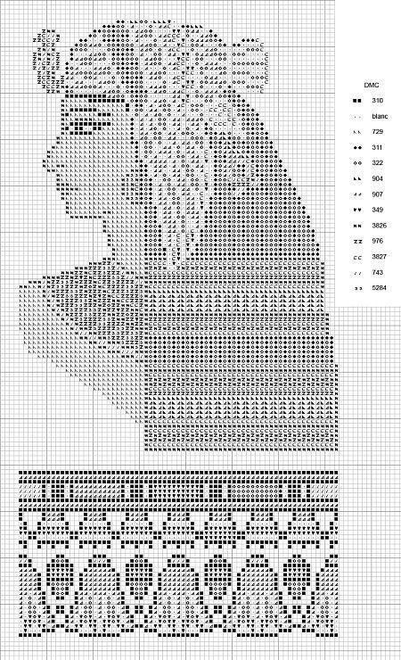 0 point de croix egyptienne - cross stitch egypitan woman