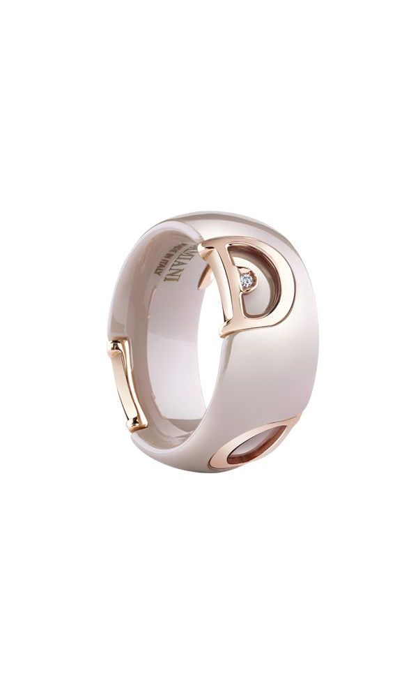 D.icon cappuccino ceramic and pink gold ring with diamond