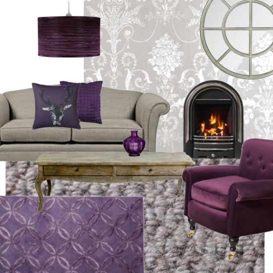 Gorgeous Grey and Berry living room    Mix this season's hottest colour together with a selection of rich berry shades for a gorgeously cosy scheme...