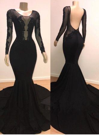 c8dd5305afe427 Günstige Abendkleider Lang mit Ärmel | Abendkleid Schwarz Online Kaufen