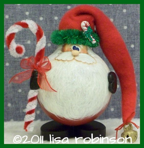 NEW pdf ePattern SANTA w candy cane recycled light bulb Christmas ornament ofg Prim Chick painting paTTern 803 candy cane santa. $7.50, via Etsy.