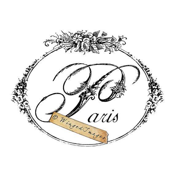 Paris Word Floral Script Instant Download Digital by WingedImages