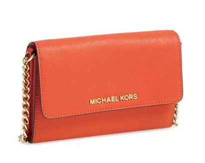 MICHAEL MICHAEL KORS \u0027LARGE JET SET\u0027 SAFFIANO LEATHER CROSSBODY BAG