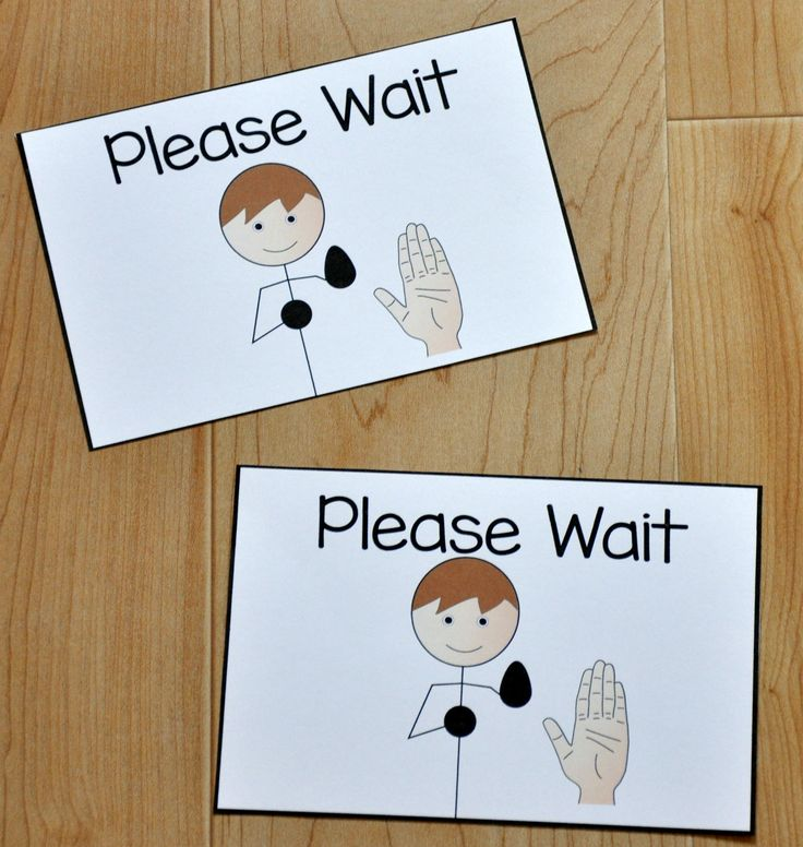"Free Behavior Supports! This printable behavior support is a visual for students with Autism and other visual learners. The ""Please Wait Card,"" is ideal for students who have difficulty waiting their turn during turn-taking activities, or waiting in line."