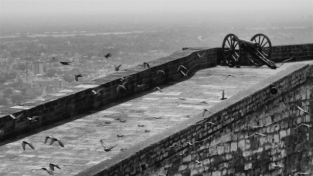 Looking out over the massive walls of the Mehrangarh Fort