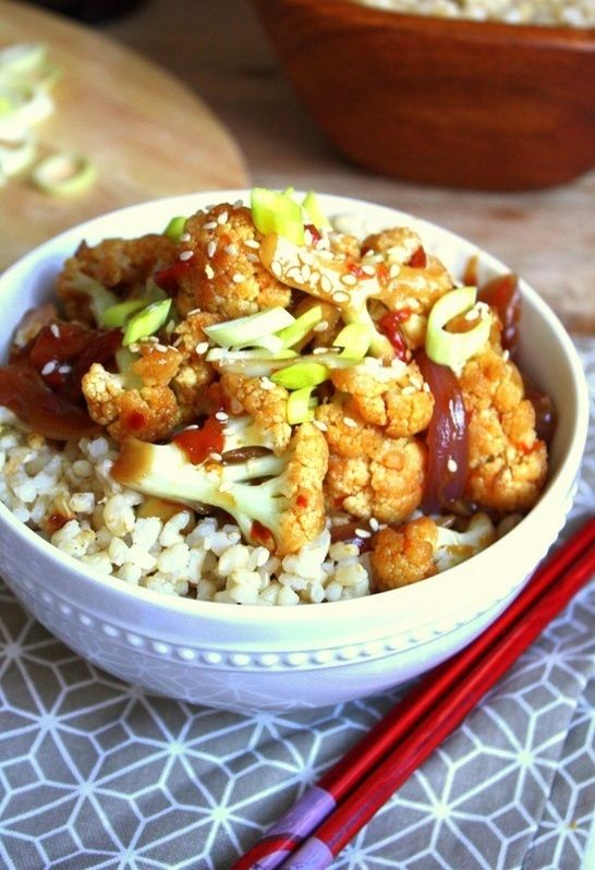 Try this healthy Kung Pao Cauliflower #recipe for dinner tonight!