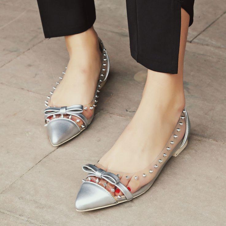 2017 New Sexy Women Summer Transparent Flats Toning Shoes Ladies Fashion Rivet Handmade Boat Shoes Woman Slipony Big Size 33-45