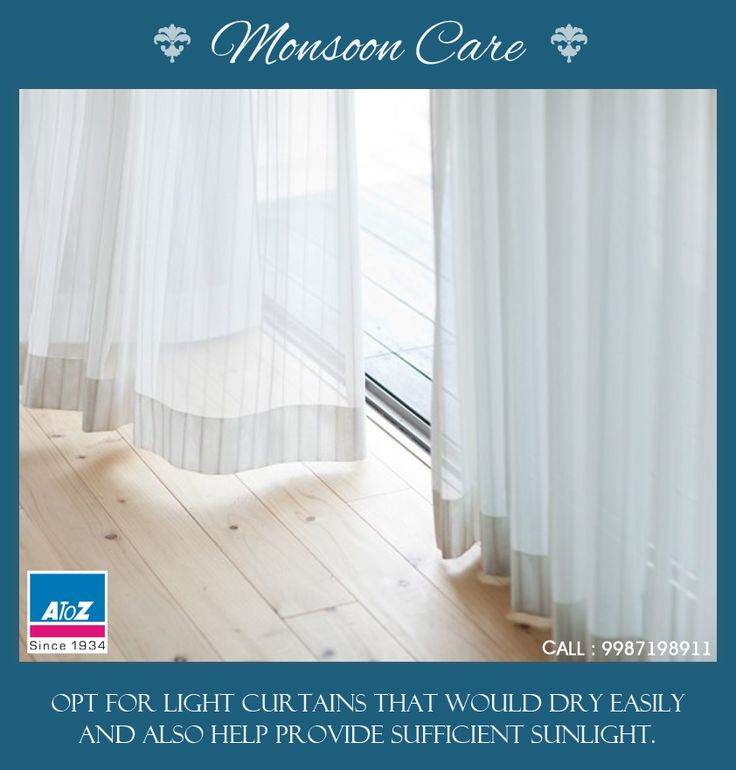 Opt for light curtains that would dry easily and also help provide sufficient sunlight. bit.ly/atozhome #atoz #Monsooncare #Curtains #Homedecor