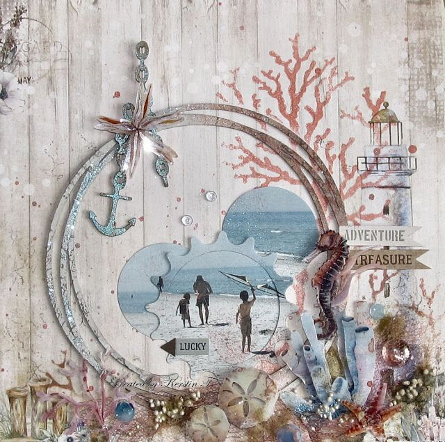 Scraps Of Darkness scrapbook kits:mixed media beach layout w/our June2017 'Seaside' kit, by Kerstin F.