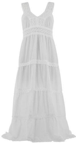 Vestito lungo estate sangallo cotone boho BIANCO ADRIANA bianco