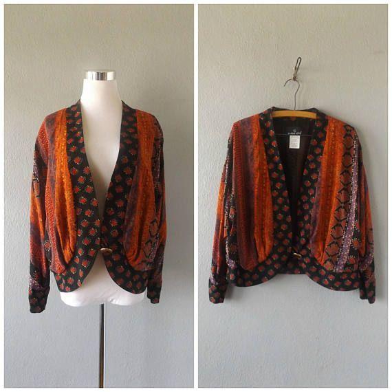 veste imprimé ethnique drapé | blazer de ton recadrée terre vintage des années 80 taille 14 l/grand hippie boho kimono chemisier top des années 1980 robe hippie festival