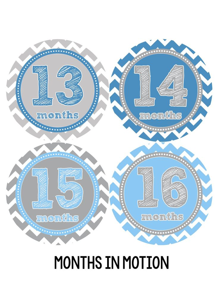 Baby Boy Monthly Milestone Stickers Style #222